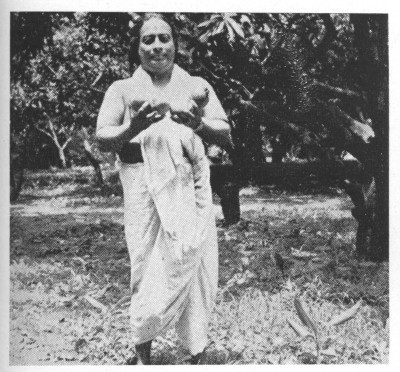 Paramhansa Yogananda Holding Mangoes