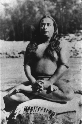Paramhansa Yogananda in Lotus Pose on a Rock