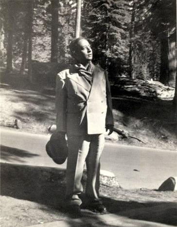 Paramhansa Yogananda Looking Up to the Sun in the Woods