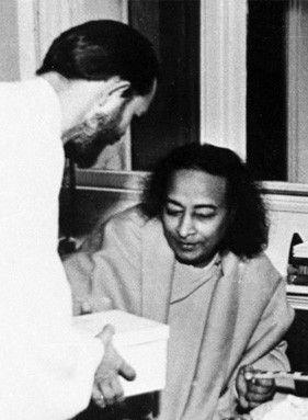 Young Swami Kriyananda Gives Gift to Paramhansa Yogananda