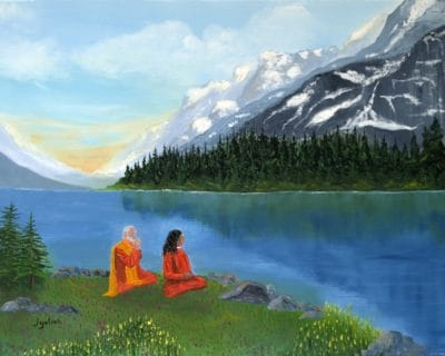 Painting of Paramhansa Yogananda and Swami Sri Yukteswar in the Himalayas