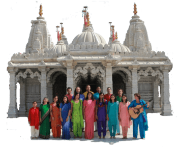 Ananda India Choir in front of Temple