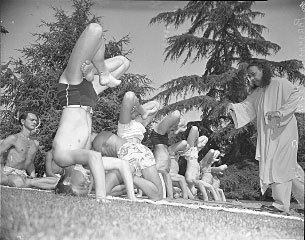 Paramhansa Yogananda Instructing Hatha Yoga