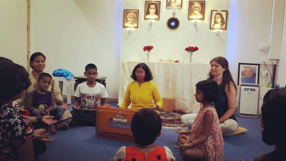 Children Meditating at Sunday School