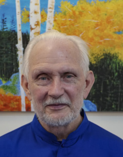 Nayaswami Jyotish with his painting - Tahoe Autumn